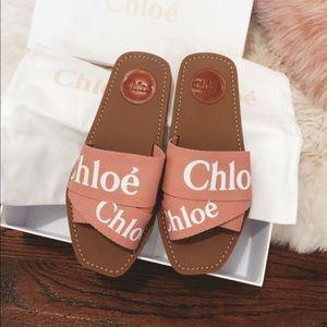 Chloe logo slide sandals size 36 in pink